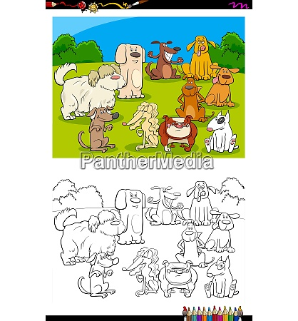 dogs characters group color book