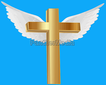 goldener christlicher kreuzfrieden himmel engelsfluegel beten