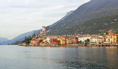 landscape with malcesine at lake garda