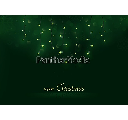 green merry christmas greeting card
