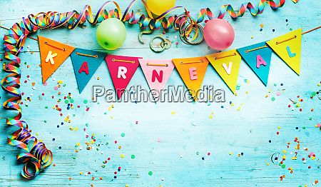 german karneval background with bunting flags