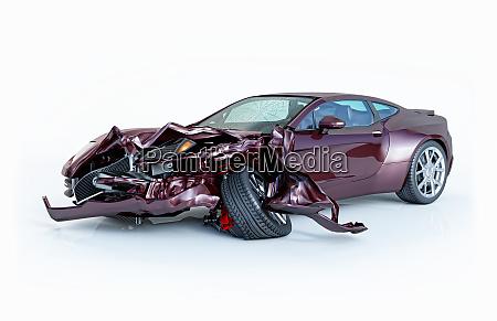 einzelnes auto stuerzte ab lila sportwagen