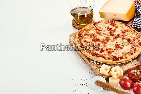 margherita pizza recipe concept with copy
