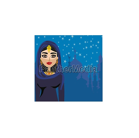 portrait of muslim beautiful girl in