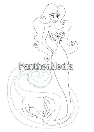 mermaid in sea waves