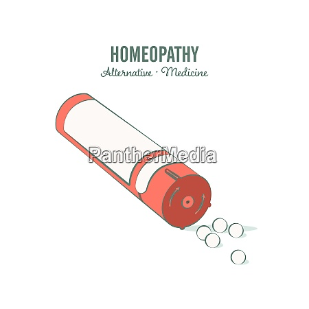 homeopathic medicine line illustration on a