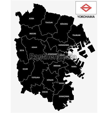 yokohama administrative and political vector map