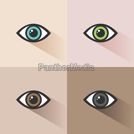 human eye icon set on colored