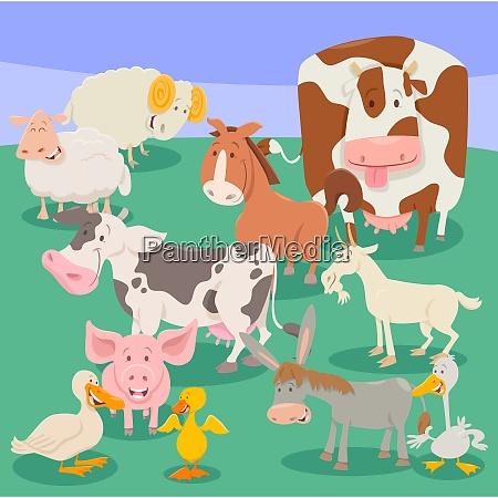 farm animal characters cartoon illustration