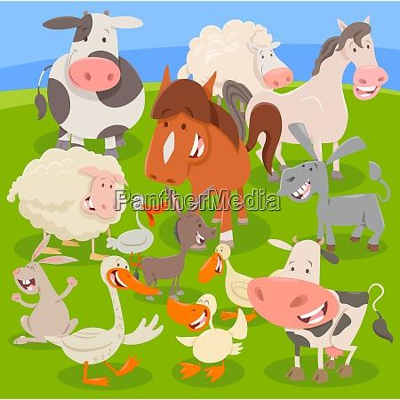 farm animals on meadow cartoon illustration