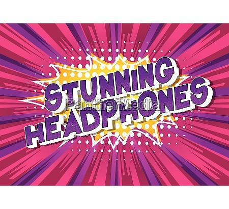 stunning headphones comic book style
