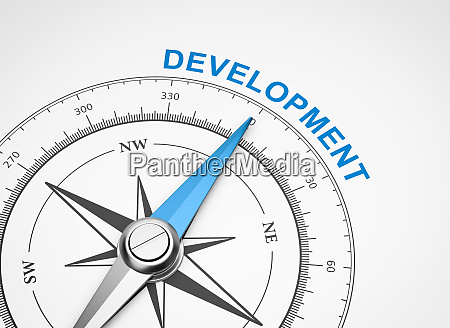 compass on white background development concept