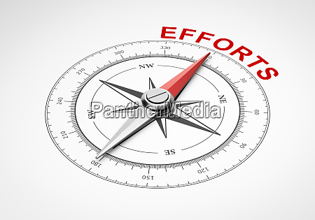 compass on white background efforts concept