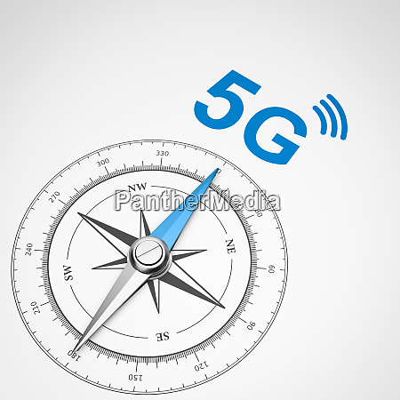 compass on white background 5g mobile