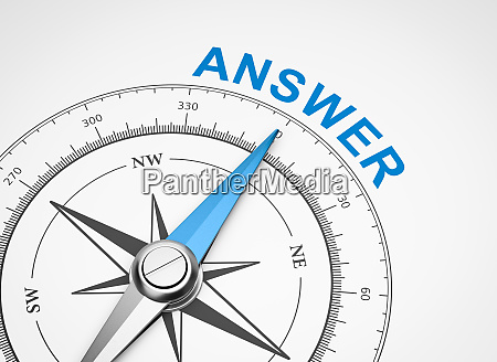 compass on white background answer concept