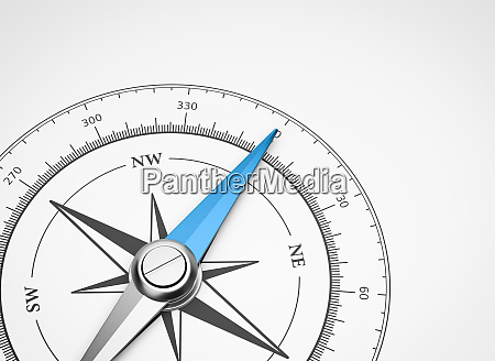 compass on white background with copyspace