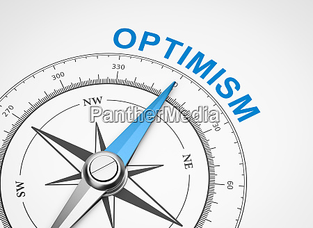 compass on white background optimism concept