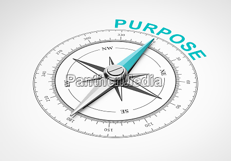 compass on white background purpose concept