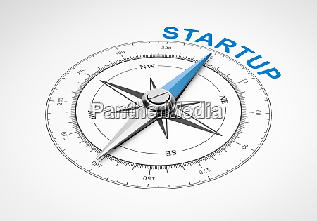 compass on white background startup concept