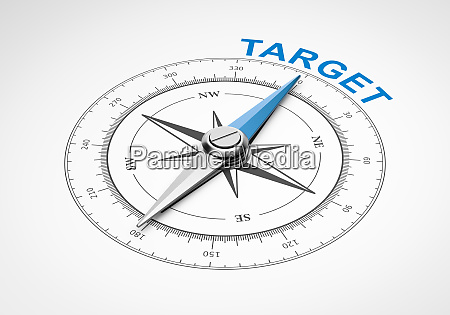 compass on white background target concept