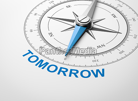 compass on white background tomorrow concept