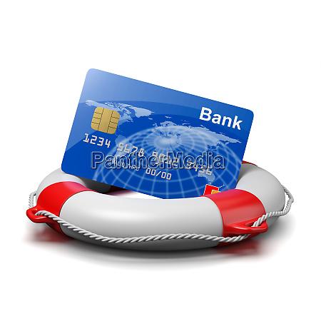 bankkarte auf einer rettungsboje
