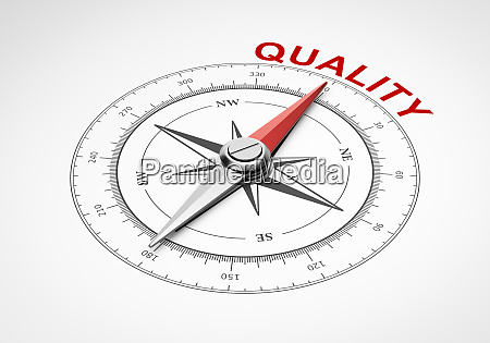 compass on white background quality concept