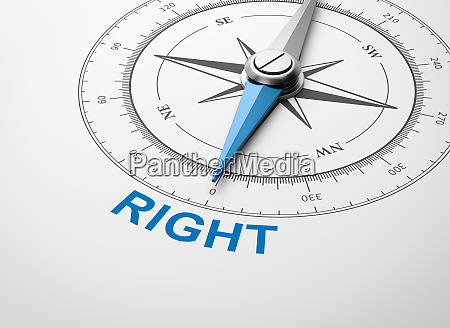 compass on white background right concept