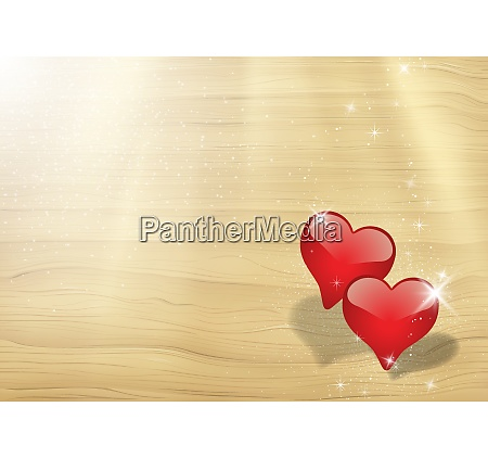 valentines card with two hearts in