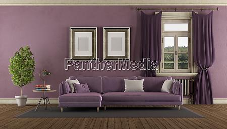lila retro wohnzimmer