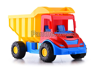 colorful plastic truck toy isolated on