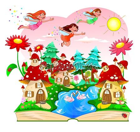 fairy book mushroom house river forest