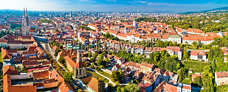 zagreb cathedral and upper city aerial