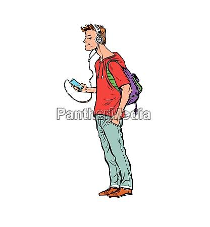 young man teenager headphones and smartphone