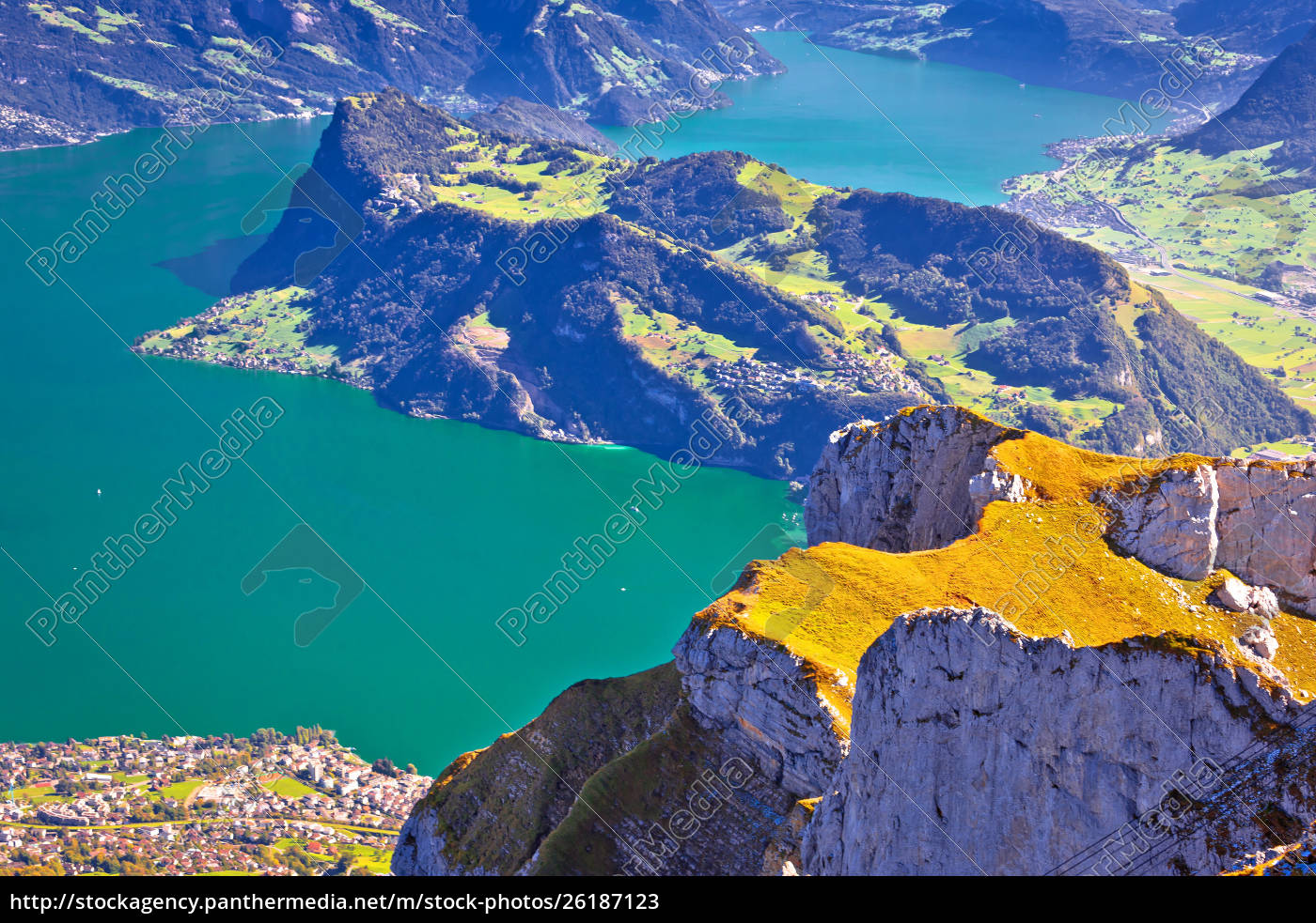 Stockfoto 26187123 - Lake Luzern and Alps mountain peaks aerial view from  Mount