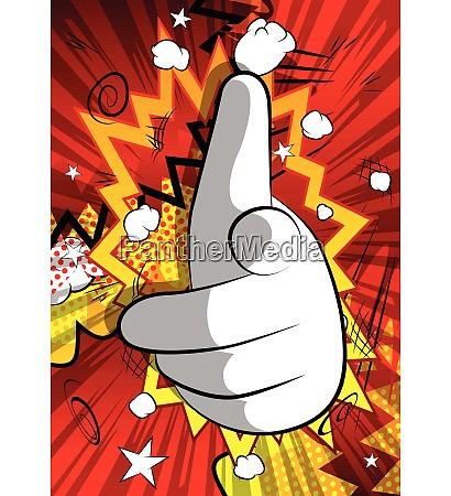 vektor cartoon hand zeigt auf den