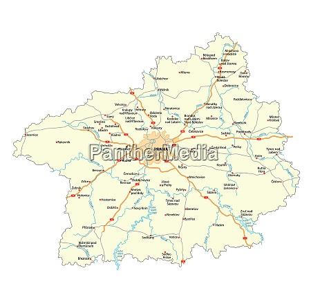 road map of czech region stredocesky
