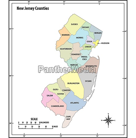 new jersey state outline administrative and