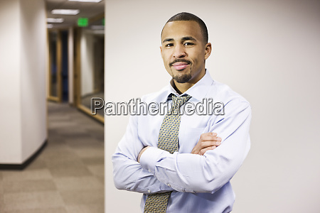 a portrait of a black businessman