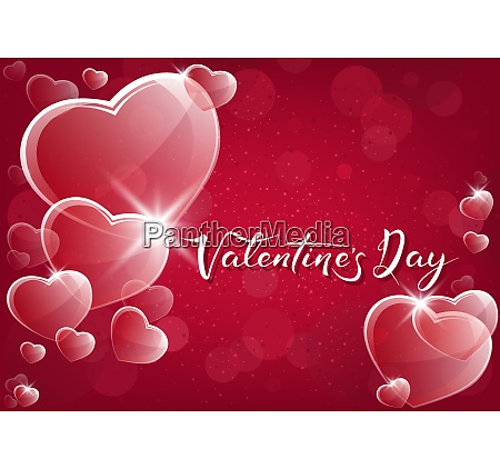 red valentine background with glassy hearts