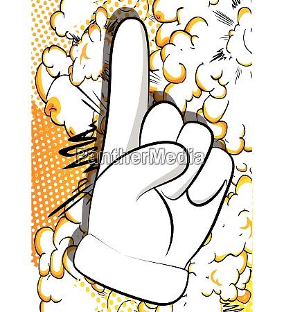 cartoon hand macht einen punkt