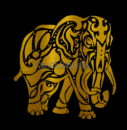 elephant tribal asia mammal golden strong
