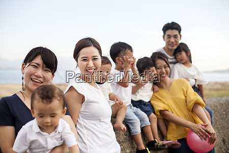 group portrait of japanese families with