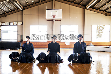 female and two male japanese kendo
