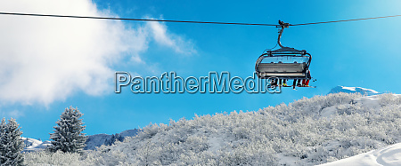winter vacation chair lift above