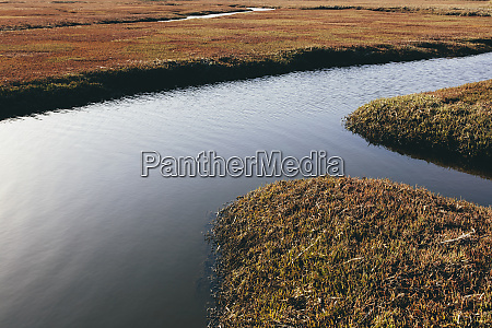 intertidal wetlands and water channels overhead