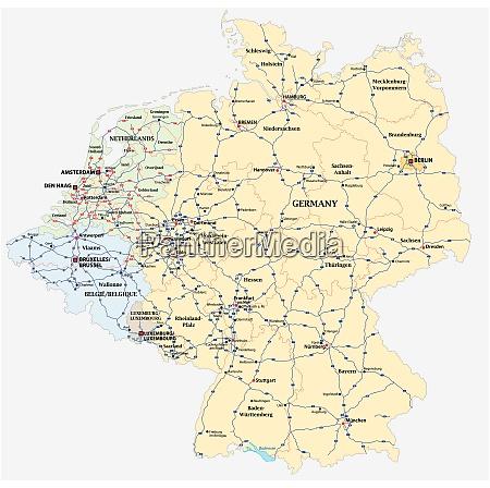 autobahn vektorkarte von deutschland und den