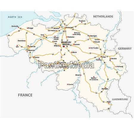 belgium motorway vector map with labeling