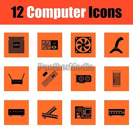 set of computer icons orange design