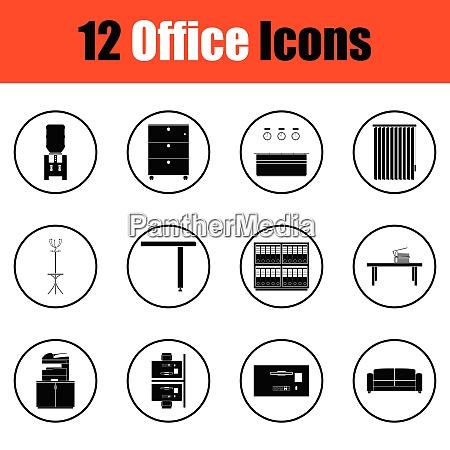 office furniture icon set thin circle